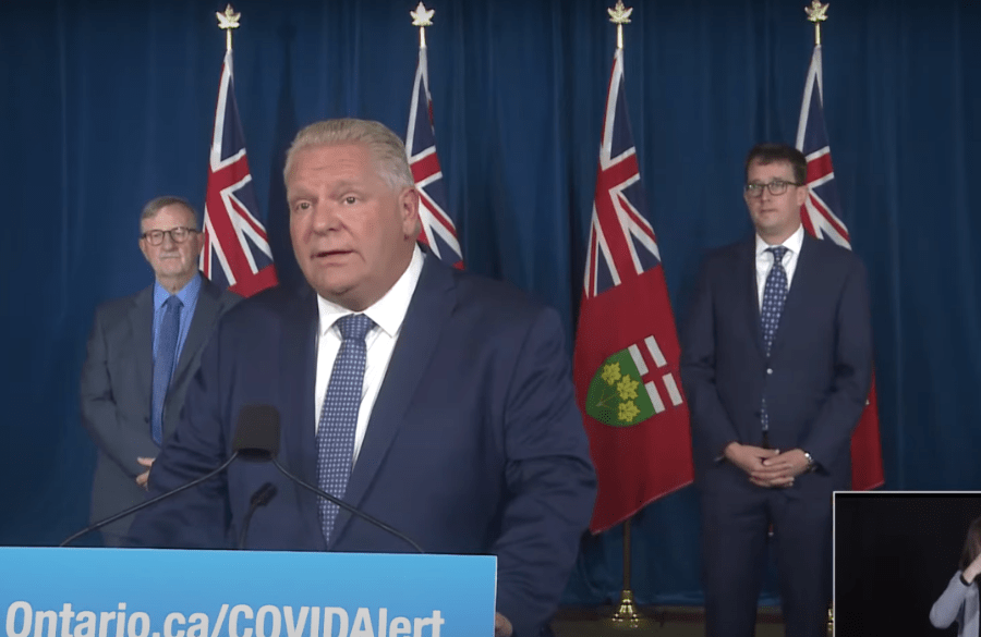 Premier Doug Ford during today's press conference at Queen's Park.