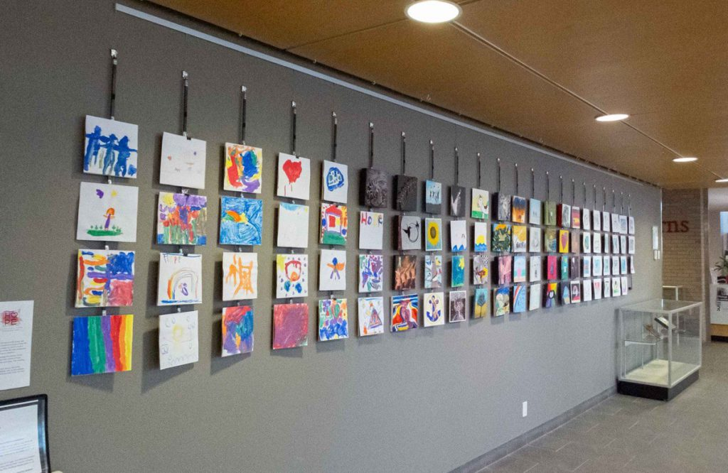 """The """"Hope Squared"""" community art project seen in the community exhibition space of the Grimsby Public Art Gallery and Grimsby Public Library on March 25, 2021. Jordan Snobelen/Metroland"""