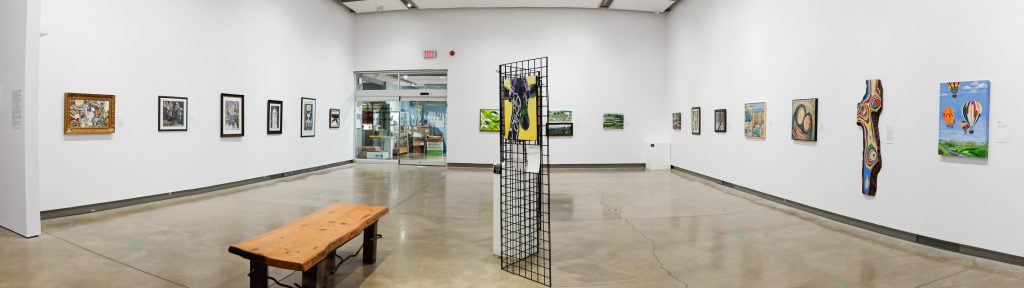 """The """"Lakeside Pumphouse Artists' Association: 20 Years of Creativity"""" seen in the main gallery space of the Grimsby Public Art Gallery on March 25, 2021."""